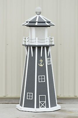 4' Octagon Electric and Solar Powered Poly Lawn Lighthouse, Gray/white trim