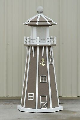 4' Octagon Electric and Solar Powered Poly Lawn Lighthouse, Clay with white trim