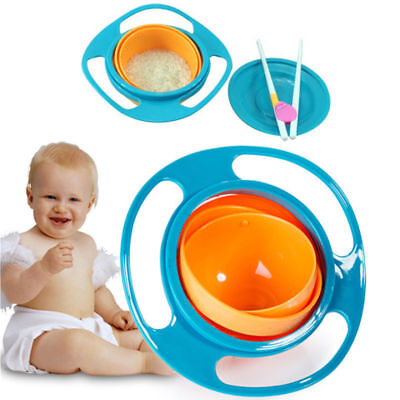 Children Portable 360 Rotate Gyro Food Bowl Spill-Proof Toddler Training Bowl
