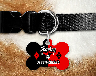 Custom Personalised Pet Dog Name ID Tag For Collar Pet Tags - Harley Quinn Style