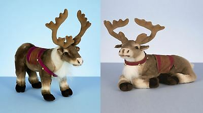 40cm Standing Lying Reindeer With Saddle Harness Plush Soft Toy Christmas Deer