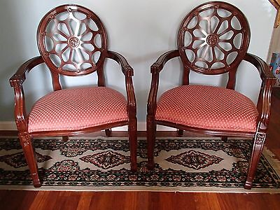 A PAIR OF SPIDERWEB BACK ACCENT CHAIRS by VICTORY FURNITURE