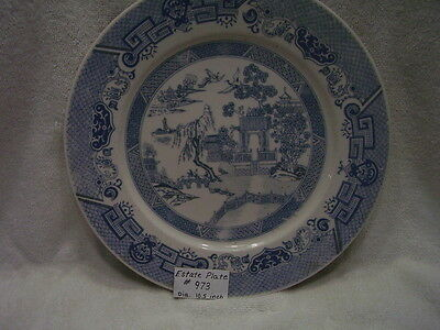 Estate Fine Old Chinese Blue and White Porcelain Landscape Plate   #973