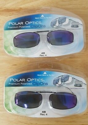 9fdca5de8d4 LOT OF 2 Polar Optics 48 rec 4 Polarized Full Frame clip on Sunglasses W.