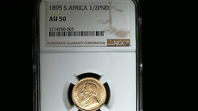 1895 South Africa Half Pond Gold Coin Ngc Au-50
