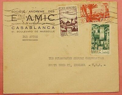 1948 French Morocco  Airmail Cover To Studebaker Car Co Usa