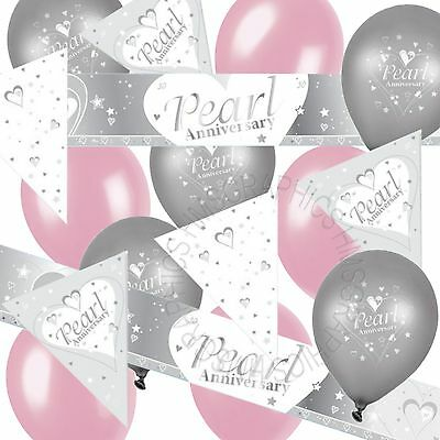 Pearl Wedding 30th Anniversary Bunting Banner Pink Balloons Party Decorations