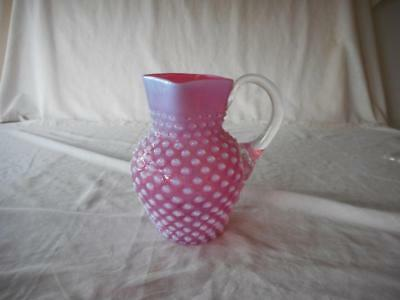 Cranberry Opalescent Hobnail Square Mouthed Pitcher Applied Clear Glass Handle