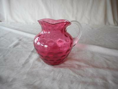 Cranberry Coin Dot Spot Small Pitcher Applied Clear Glass Handle Square Mouth