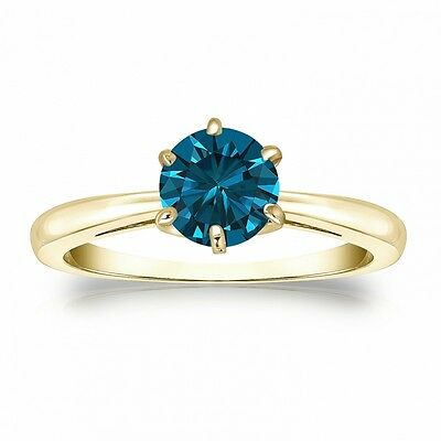 2.50 Ct Round Blue Real 14K Yellow Gold Solitaire Engagement Wedding Ring