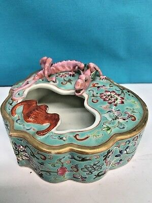 Antique Chinese Famille Rose Blue Ground Brush washer