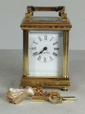 Perfect French miniature engraved 8 days carriage clock
