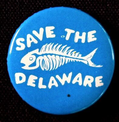 Save The Delaware - Protect Water For Millions - Original  Old Pinback Scarce