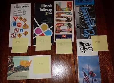 Vintage City Road Maps (Lot of 6) 1960s - 1970s  Chicago, Illinois and USA