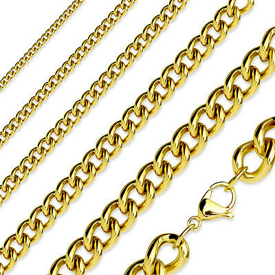 "Gold Plated Stainless Steel Curb Chain Link Necklace - 16"" to 19"" Length"