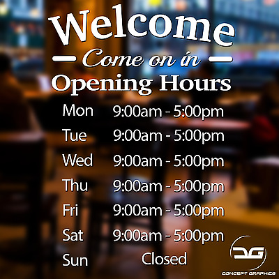 Opening Hours Personalised  Shop Times Window Wall Sign Vinyl Decal Sticker