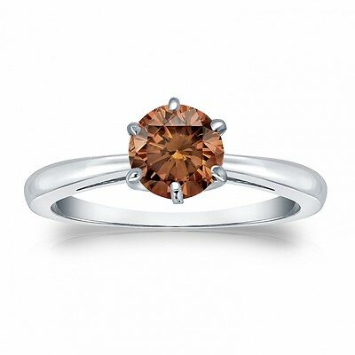 2.25 Ct Round Brown Cognac Real 14K White Gold Solitaire Engagement Wedding Ring