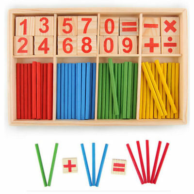 HOAU Children Wooden Numbers Mathematics Early Learning Counting Educational Toy