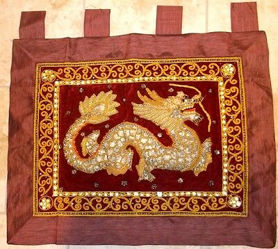 "Large ELABORATE Embroidered  CHINESE DRAGON  Wall Hanging  27"" x 22"""