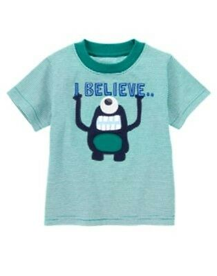 "NWT 3-6 Months Gymboree SPACE VOYAGER Teal Striped ""I Believe""  S/S T-Shirt Top"