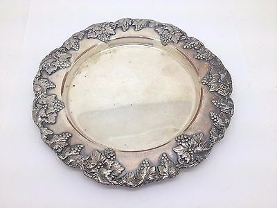 Early Sheffield Double Key Silverplate Grape Design Candy Dish