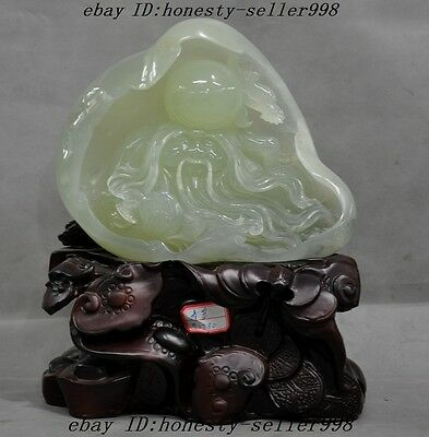 """12""""A Chinese Xiuyu Natural Green Jade Pure Hand-Carved life Longevity god Statue"""