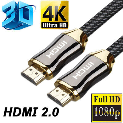 Braided Ultra HD HDMI V2.0 Cable High Speed Ethernet HDTV 2160P 4K 3D 18Gbps US