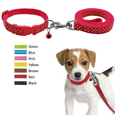 Dots Print Puppy Pet Dog Collar & Leash Set with Bell for Small Breeds Beagle