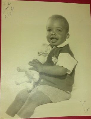 Vintage Old 1960's Photo Cute Little African American Black Boy ERIC toy Horse