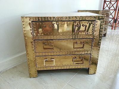 RARE Sarreid Brass Chest, Nightstand, Side Table HOUSTON, TX vintage regency MCM