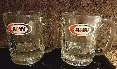 A & W Root Beer Set Of 2 Collectible Vintage Heavy Clear Glass Mugs W/ Logo