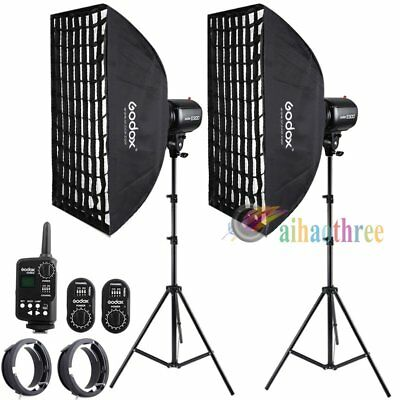 2Pcs Godox E300 300W Photography Studio Strobe Flash Light Softbox Trigger Kit