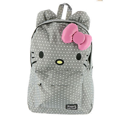 NWT Loungefly Hello Kitty Grey Polka Dot Backpack with Ears & Plush Pink 3D Bow