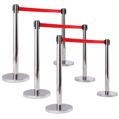 New 6x Thick Steel Chrome Retractable Red Belt Stanchions Posts Queue Pole Crowd
