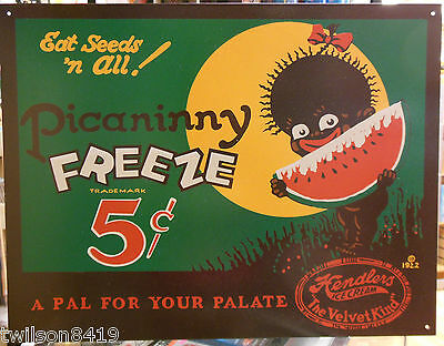 Picaninny Freeze Watermelon Black Americana Vtg Reproduction Metal Ad Sign Food
