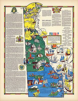 1938 DELAWARE state pictorial map history folklore whimsical POSTER Aitchison