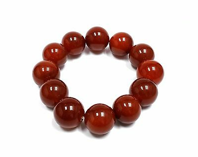 NATURAL RED AGATE STONE ENERGY HEALING ELASTIC BRACELET 18mm FENG SHUI CURE