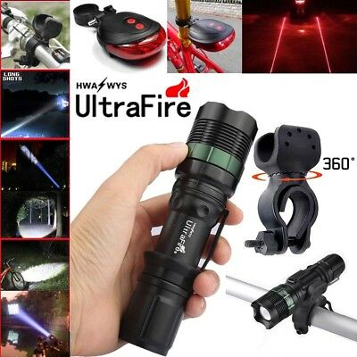 Ultrafire 50000LM Zoomable XML T6 LED Flashlight Torch +Bike Holder For Torch