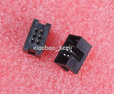 50pcs 2.54mm 2x3 Pin 6 Pin Straight Male Shrouded header IDC Socket