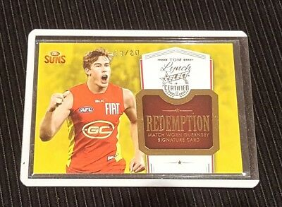 Tom Lynch - AFL Select Certified Signature Guernsey Redemption - Gold Coast 2017