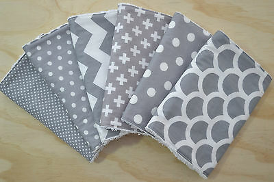 Burp Cloth, Toweling Back, Grey Mix No. 1, GIFT set of 6