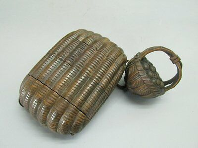 Japanese Boxwood Carved Basket Shape Inro (Pomander)