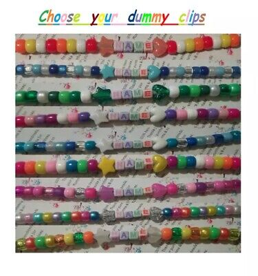Personalised dummy clip for boys or girls choose your colour buy *2 get 1 free*