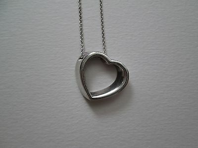 Tiffany & Co. Retired Slanted Open Smooth Heart Sterling Necklace Pendant RARE!