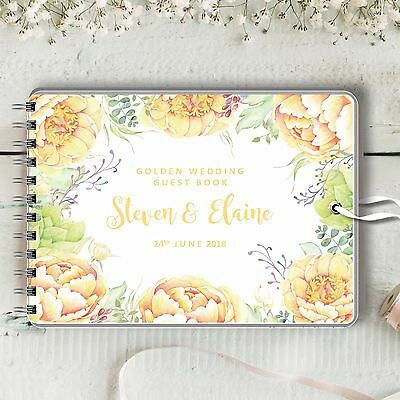 Personalised Wedding Anniversary Guest Book, Yellow Peonies. Golden Wedding Book