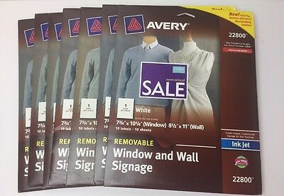 """7 Packs Of Avery 22800 Inkjet Removable Window And Wall Signage 8-1/2""""X11"""" White"""