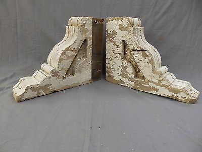 Pair Antique Wood Corbels Gingerbread Victorian Garden Shabby Vtg Chic 414-17P