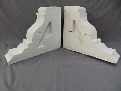 Pair Antique Wood Corbels Gingerbread Victorian Garden Shabby Vtg Chic 416-17P