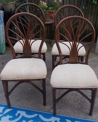 4 alexvale thornet RATTAN chairs  Dining Room bamboo Chairs Set of 4 VINTAGE tlc