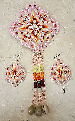 Beautiful New Hand Crafted 3 Piece Pink Beaded Native American Indian Dance Set